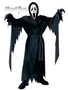 #8874 Spook the masses this Halloween in the Ghost Face Costume. The Ghost Face Costume includes a full length black hooded robe with tie belt. The scary Ghost Face Mask completes the costumes ghoulis