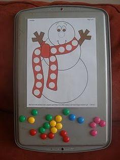 Placing magnets, do a dot, pompom, sticker dots Kindergarten, Preschool Curriculum, Preschool Activities, Motor Activities, Winter Activities, Toddler Activities, Winter Fun, Winter Theme, Winter Ideas
