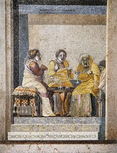 Pompeii, Villa del Cicerone. Theater scene- two women making a call on a witch (all 3 in theater masks). Work of Discorides of Samos. NAMN