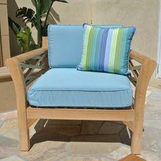 Outdoor Willow Creek Designs Monterey Teak Club Chair with Sunbrella Cushion