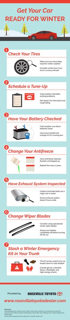 Now that winter's here, you should have your car's antifreeze cleaned, flushed, and topped up! Repeat this step every 2 years. Want more tips? Take a look at this infographic from a new car dealer located in Roseville.