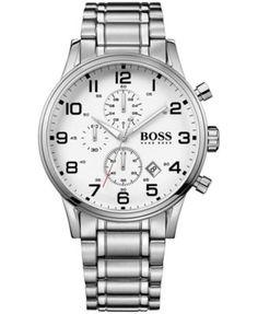 Hugo Boss Men's Chronograph Boss Black Aeroliner Stainless Steel Bracelet Watch 44mm 1513182