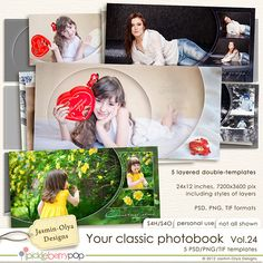 New set of layered double templates to create your beautiful photobook. Include 5(+2) double templates (24x12 inches, 7200x3600 pix). PSD, PNG & TIF. Include styles for each layer and other properties. Combines with <b>Your classic photobook Vol. 10</b> and <b>Your DVD Covers Vol. 7</b>