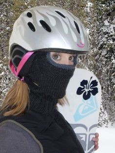 by Jenna Adorno     When the winter months arrive, I put down my knitting needles and spend my idle time on the slopes. Anyone who wears a helmet (and ponytails) in the snow can tell you that there is no way to keep your cheeks and face warm while your helmet and hair push down your scarf. After many shivering chairlift rides I came up with the idea of a mask that allows both room for the helmet straps and the stylish ponytails, while also protecting the face and neck.  The base is ribbed…