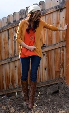 Natural Beauty - Wear the sunset. Dark denim with contrasting burnt orange and curry yellow makes for a perfect crisp just-stepped-out-of-fall look. Looks like you belong in the woods. Which you probably do - no one really belongs in concrete jungly anyway.