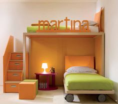 Kids Room, Nice orange green kids room with glossy white table lamp on the pink table and creative storage on the staircase: Cute and Fantastic Kids Room Design Ideas from Dearkids