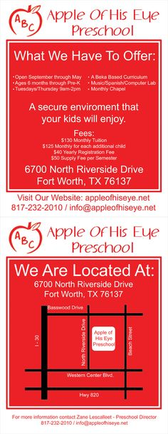 Flyer for local Pre-School client