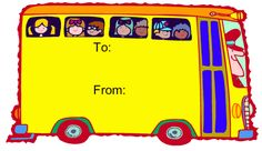 This gift tag with a colorful bus full of school children is a great addition to a kid or teacher present. Free to download and print
