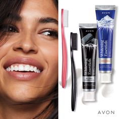 Avon Whitening Essentials Toothbrush Soft Original Our uniquely-shaped brush is designed for maximum coverage over teeth. Soft bristles with a specially-designed pattern sweep between your teeth to keep them healthy and attack plaque. Chi Hair Products, Avon Products, Boss Babe, Innovation, Hair Essentials, Oil Shop, The Face Shop, Makeup To Buy, Avon Representative