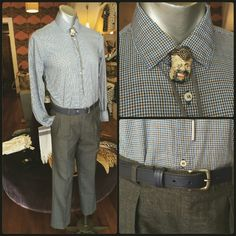 Vintage check shirt accesorised with bolo tie and ceramic face brooch,vintage grey suit pants accessorised with a Libertine navy belt Suit Pants, Grey Pants, Men's Vintage, Vintage Brooches, Vintage Clothing, Vintage Outfits, Bolo Tie, Check Shirt, Menswear