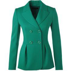 ESCADA Jacket Basja (4.185 HRK) ❤ liked on Polyvore featuring outerwear, jackets, blazers, coats, coats & jackets, malachite, blue jackets, escada jacket, double breasted jacket and lapel jacket