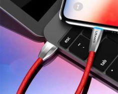 Odolný lightning nabíjací kábel s LED osvetlením, 120cm, textilný v červenej farbe Ios Apple, Apple Iphone, Apple Watch, Ipad