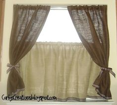 burlap window treatments this in black grey taupe linen and a tad of white this in black grey taupe linen an Gingham Curtains, Burlap Valance, Drapes Curtains, Burlap Fabric, Valances, Burlap Kitchen, Primitive Kitchen, Burlap Window Treatments, Window Coverings