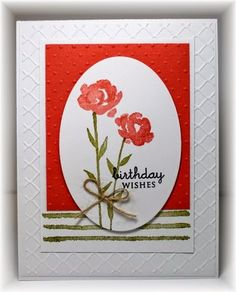 features Stampin Up's Painted Petals stamp set and fancy fan embossing folder; Scrappin' and Stampin' in GJ