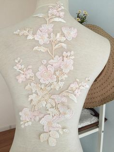 Pastel Beautiful Fine Embroidery Lace Applique  Flower Venice