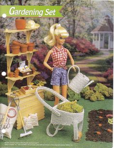 Fashion Doll Gardening Set  plastic canvas pattern by puddinpop