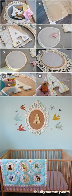 How to make DIY monogram wall art for a nursery or kid's room with burlap, Ikea frame and scrap fabric. -Momo