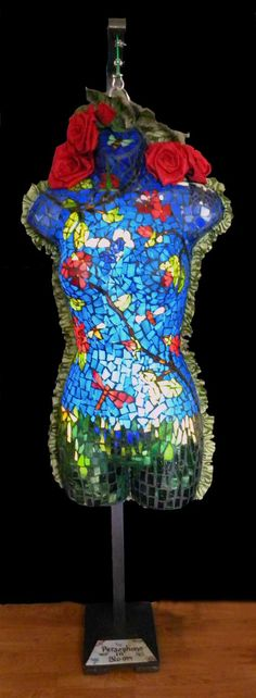 Persephone, Illuminated art glass mosaic, with felted roses and leaves on a wooden stand Mosaic Glass, Glass Art, Illumination Art, Persephone, Birthday Candles, Roses, Bloom, Leaves, Pink