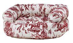 Raspberry Toile Double Donut Dog Bed Sofa Diamond Series 4 Sizes