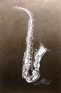 Saxophone (white pencil on black paper) by AdrianMoraru on DeviantArt