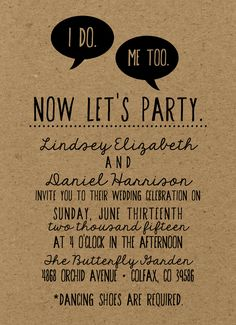 Rustic, Trendy, Hipster Wedding Invitation /// 2015 Kraft Paper  /// Boho Wedding - Cute wording and fonts!
