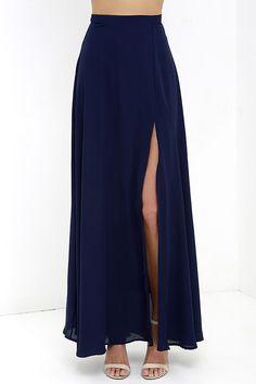c264944366 Seaside Soiree Navy Blue Maxi Skirt | Fashion | Fashion, Maxi skirt ...