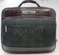 3274765fb4 Brighton-14-Inch-Leather-Expandable-Roller-Laptop-Carry-On-Luggage-Black -Brown