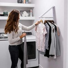 Retractable Drying Clothing Rack is ideal for drying and hanging your clothes. With its dual purpose comes greater efficiency, so it's a win, win situation! Laundry Closet Organization, Laundry Room Organization, Laundry Room Drying Rack, Laundry Hanging Rack, Clothes Drying Racks, Laundry Closet Makeover, Clothing Racks, Ikea Laundry Room, Hanging Clothes Racks