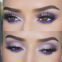 colorful purple eye makeup, no liner @vjosamua - great for spring! w/ a brighter, more blue-leaning shade on the lower lashline