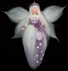 Needle Felted Wool Mauve Easter Fairy Doll Angel by Holichsmir, $26.00
