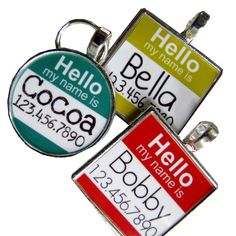 """The Original """"Hello My Name Is"""" Silver Pet ID Tag -As Seen In Modern Dog Magazine. $9.99, via Etsy."""