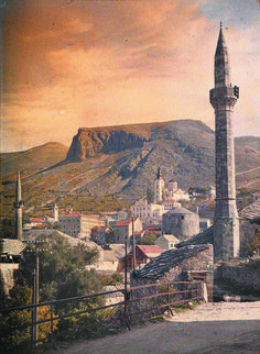 Mosque and Church in Mostar, Bosna i Hercegovina by Auguste Leon 1912