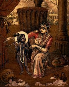 By Chaitanya Charan Das One of the important legends associated with Diwali is Damodara lila, a pastime in which mother Yashoda tried to tie Krishna with a rope. The rope turned out to be two fing… Yashoda Krishna, Radha Krishna Love, Krishna Radha, Indian Traditional Paintings, Indian Art Paintings, Lord Shiva Painting, Krishna Painting, Krishna Birth, Mythology Paintings