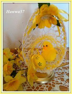 Szydełkowe dziergadła - Hawwa57: Połówka jajka z szydełkowej koronki - ozdoba świąteczna
