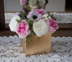 Wedding Centerpiece - Peony and Anemone Ivory Pink and Lavender Centerpiece - Available to order by Kate Said Yes Weddings