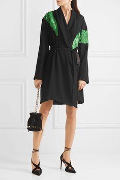 Attico | Lauren satin-appliquéd crepe mini wrap dress | NET-A-PORTER.COM
