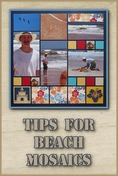 Get tips for creating Beach scrapbook pages with the Mosaic Moments scrapbook system. I love that you can add a lot of photos and embellishments to these pages. #scrapbook #scrapbooking