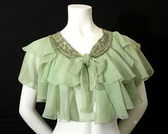 1930's pale green capelet, made up of tiers of silk chiffon.  Vintage Textile.