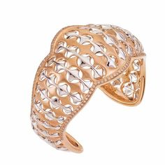 Pink and white gold bangle with diamonds by Bergio