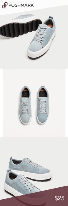 NEW• Zara Velvet Sky Blue Platform SneAkers See Above for product information. I tend to reach for my Nikes...Purchased awhile back and never got around to wearing them. Size is sold out. Too cute to keep stored. Tag says 37/6.5  2.25.18 Zara Shoes Sneakers