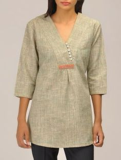 V Overlap Neck Khadi Top - would love this in another color Short Kurti Designs, Salwar Neck Designs, Kurta Neck Design, Tunic Designs, Kurta Designs Women, Dress Neck Designs, Dw Shop, Dress Shirts For Women, Clothes For Women