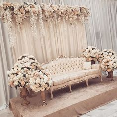 Rose, blush & muted golds for the sweetheart stage. Rose, blush & muted golds for the sweetheart stage. Wedding Hall Decorations, Wedding Stage Design, Wedding Reception Backdrop, Quinceanera Decorations, Engagement Decorations, Backdrop Decorations, Backdrops, Wedding Mandap, Backdrop Ideas