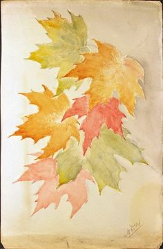 Image of Watercolor Painting of Fall Leaves. Watercolor Leaves, Watercolor And Ink, Watercolor Paintings, Watercolors, Bird Paintings, Indian Paintings, Watercolor Portraits, Watercolor Landscape, Abstract Paintings