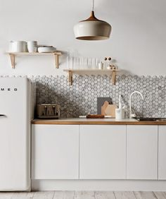 White Scandinavian Kitchen Design – Hexagon Tile
