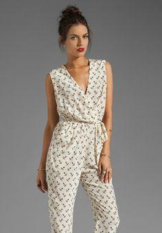 By Malene Birger Sailor Chic Etalia Silk Print Jumpsuit in Cream