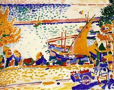 The Port of Collioure, 1905, oil on canvas, 72 x 91 cm. Musée d'Art moderne, Troyes, France.  Fauvism, Andre Derain (1880-1954).