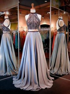 ed2f6a1f41ea 2 Piece Beaded Backless Chiffon Prom Dresses High Neck Open Back Formal  Evening Gown – SheerGirl