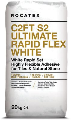 All our deals have FREE DELIVERY and ROCATEX C2FT S2 Ultimate Rapid Flex White tile adhesive is no exception, a single part, highly flexible, rapid setting wall and floor tile adhesive for fixing natural stone and tiles including ceramics, porcelain and mosaics to a variety of substrates. Suitable for interior and exterior use, also as a fast track solution for green screeds. #rocatex #palletdeals #bulkbuy #freedelivery #tileadhesive Tile Transfers, Electric Underfloor Heating, Expansion Joint, Adhesive Tiles, Tongue And Groove, Wall And Floor Tiles, White Tiles, Heating Systems, Mosaics