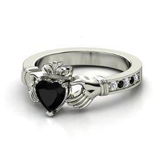 Heart Black Onyx Palladium Ring with Diamond