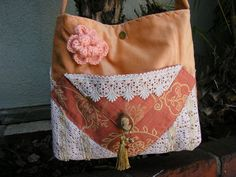 Velvet Damask Purse soft thick fabric lace by TatteredDelicates, $45.00
